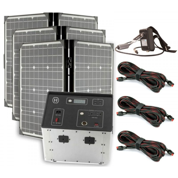 1500 Series Solar Generator Kit 0.64kWh by Humless with 3 Panels, & 3 Extension Cords-0
