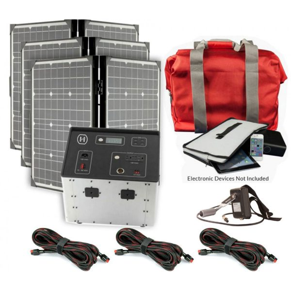 1500 Series Solar Generator Kit 0.64kWh by Humless with EMP Bag, 3 Panels, & 3 Extension Cords-0