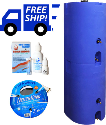 Blue Two Tank Stackable Water Storage System 320 Total Gallons-0