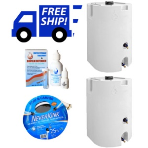 White Two Tank Stackable Water Storage System 320 Total Gallons-0