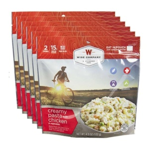 Wise Food Storage 6ct Pack - Outdoor Creamy Pasta and Vegetables with Chicken 2 Serving Pouch-0