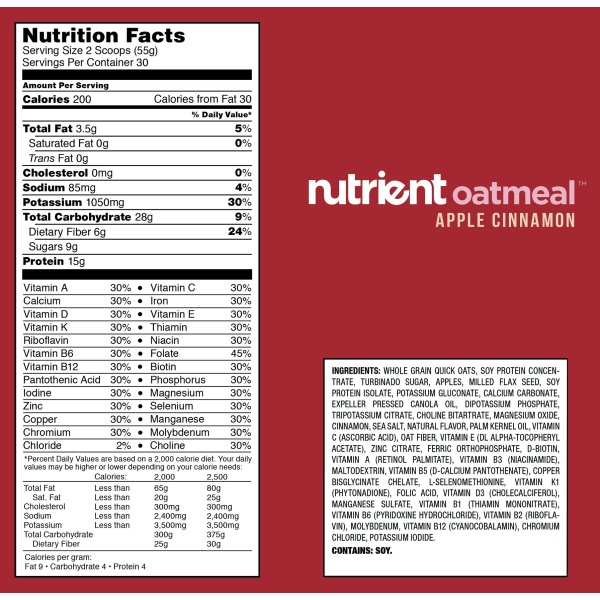nutrition facts for oatmeal