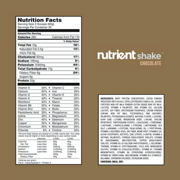 chocolate nutrient shake nutrition facts