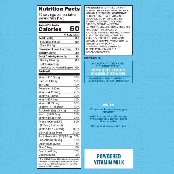 Nutrient Survival Powdered Milk Nutrition Facts